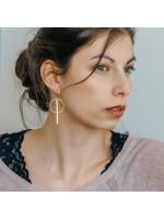 cirkel staafje rose gouden oorbellen ETOILE by Fleurfatale