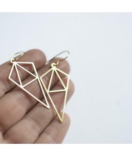 Talking Traces Geometrische goud vergulde oorbellen by Fleurfatale
