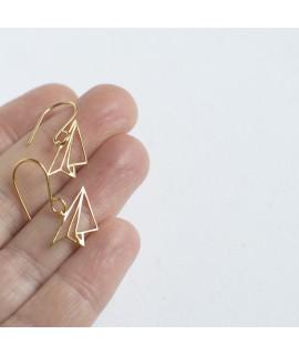 FLY goud vergulde vliegtuig oorbellen  by Fleurfatale