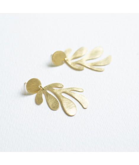 SIREN goud vergulde zeewier blaadjes oorbellen by Fleurfatale