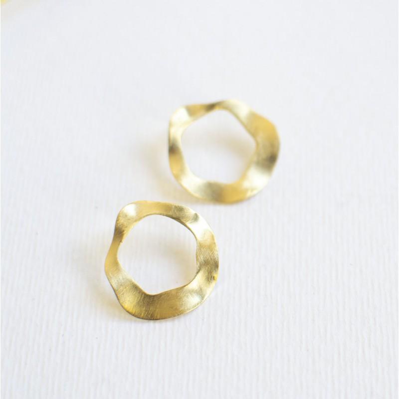 ROUND goud vergulde oorbellen by Fleurfatale