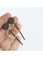 SIMPLY BLACK oorbellen goudverguld en zwart by Fleurfatale