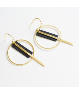 SIMPLY BLACK gold plated earrings  by Fleurfatale