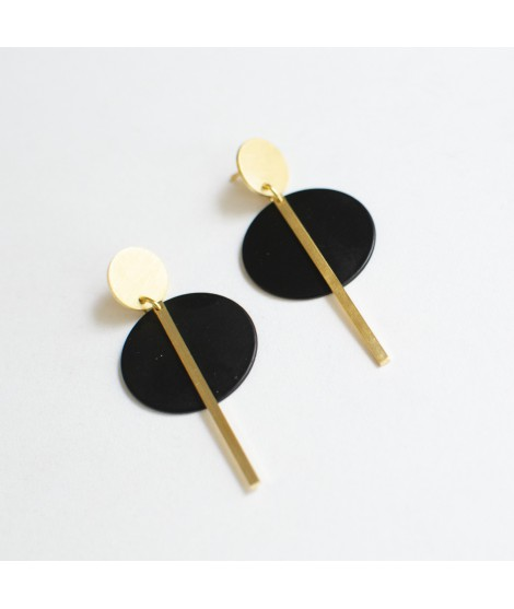 SIMPLY BLACK earrings gold & black by Fleurfatale
