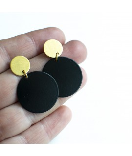 SIMPLY BLACK earrings black & gold  by Fleurfatale