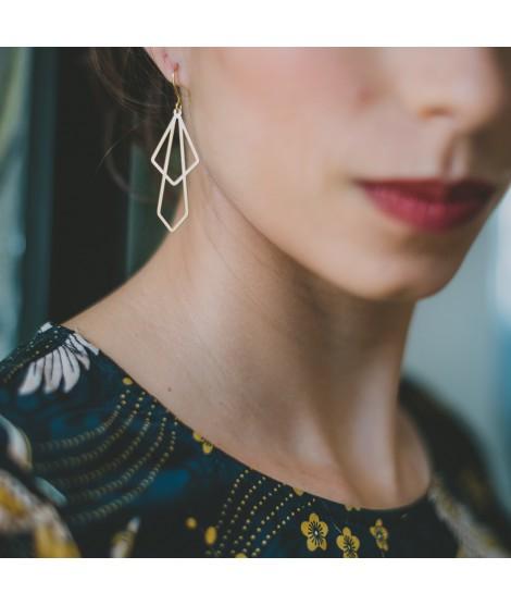 TALKING TRACES goudvergulde oorbellen geometrisch by Fleurfatale