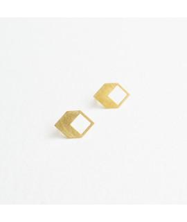 goudvergulde geometrische oorstekers by Fleurfatale