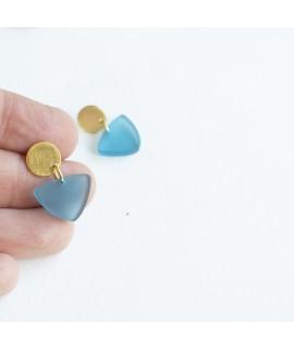 ijsblauwe hangers met Geel vergulde knopjes by Fleurfatale