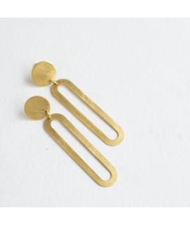 ETOILE goud vergulde cirkel staafje oorbellen by Fleurfatale
