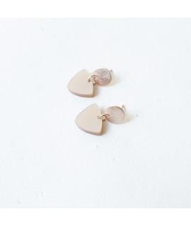 rosegouden oorbellen met rosé hanger by Fleurfatale