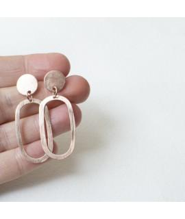 AMINA rosé goud vergulde ellips oorbellen by Fleurfatale