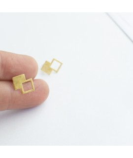 Talking Traces goud vergulde oorknoppen geometrisch by Fleurfatale
