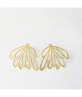 SIREN grote goud vergulde zeewier blaadjes oorbellen by Fleurfatale