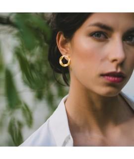 Amina rose goud vergulde ronde oorbellen by Fleurfatale