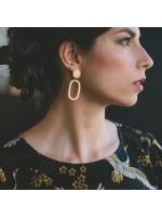 AMINA goud vergulde ellips oorbellen by Fleurfatale