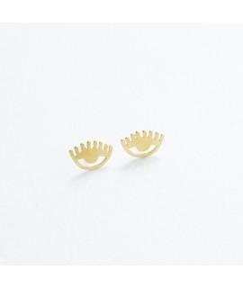 PETITES goudvergulde oog oorknopjes by Fleurfatale