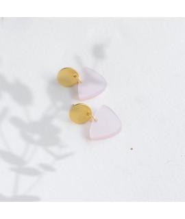 Luz goudvergulde oorbellen roze by Fleurfatale