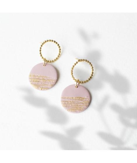 oudroze klei oorbellen  met goudluster by Fleurfatale