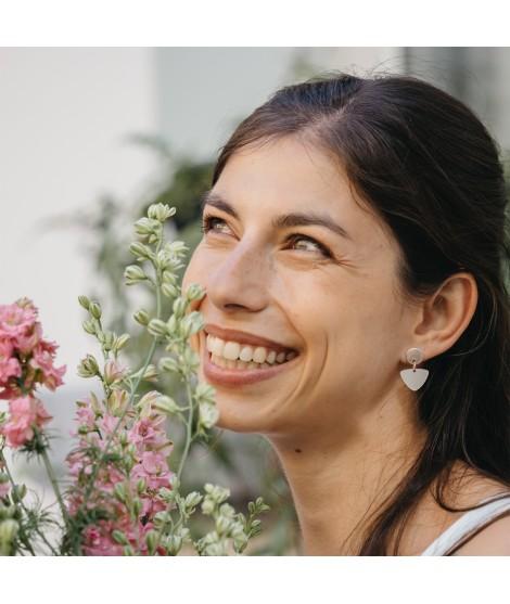 Luz goudvergulde oorbellen nude rose by Fleurfatale