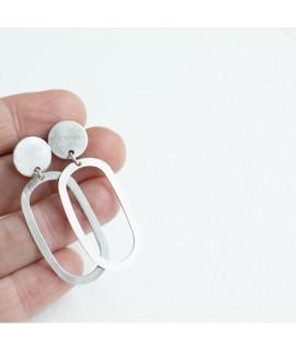 zilveren ellips oorbellen by Fleurfatale uit Gent