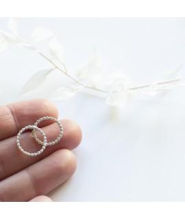 Nuria zilveren en goud vergulde oorbellen dots cirkel by Fleurfatale