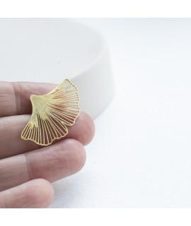 GINKGO - zilveren goudvergulde  Broche of pin by Fleurfatale