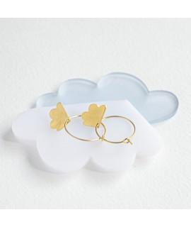 zilveren of 18k vergulde wolken oorbellen - oorshangers by Fleurfatale Gent -  into the clouds