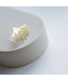 GINKGO - zilveren goudvergulde  broche by Fleurfatale