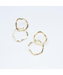 Goudvergulde en zilveren  grote cirkel oorbellen hoops oorstekers by Fleurfatale uit Gent