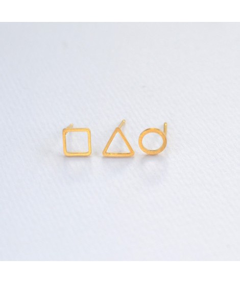 Threesome zilveren of gouden oorknopjes trio driehoek vierkant cirkel by Fleurfatale
